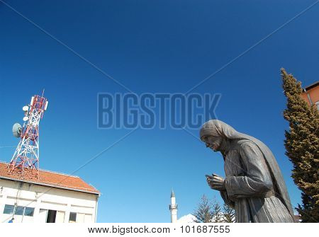 STRUGA MACEDONIA -MARCH 04 : Mother Teresa statue in Struga on March, 04 ,2008. Monument Humanitarian Worker and Nobel Prize Winner Mother Teresa in Struga Macedonia.