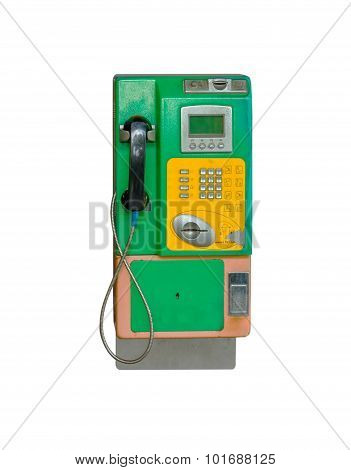 Payphone On The Wall On White Isolate Background With Clipping Path.