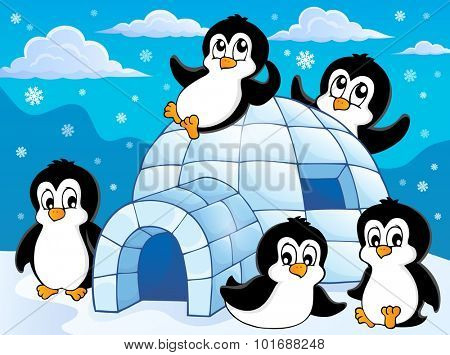 Igloo with penguins theme 1 - eps10 vector illustration.