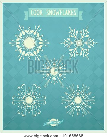 Set of Christmas art snowflakes