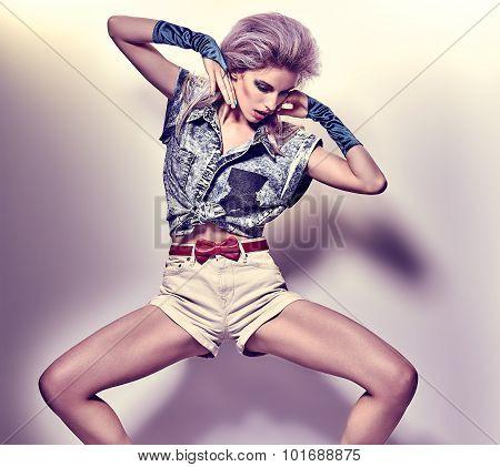 Beauty fashion sexy slim woman, unusual creative look, vintage