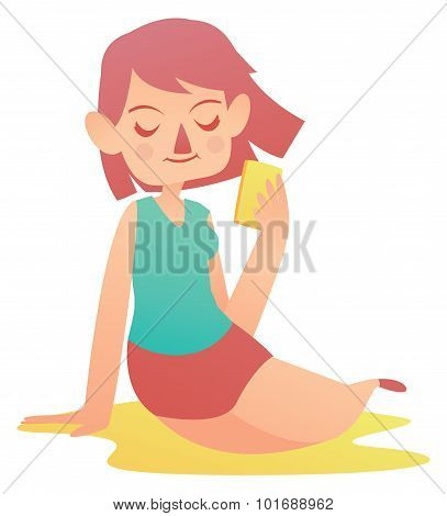 Relaxing Girl Holding A Cell Phone