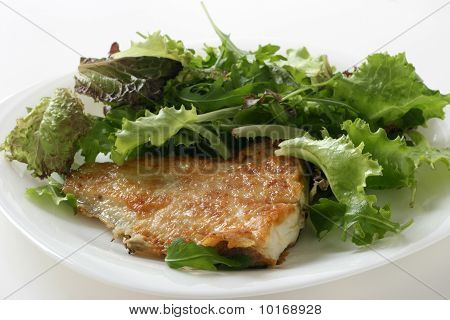 fried flounder with salad