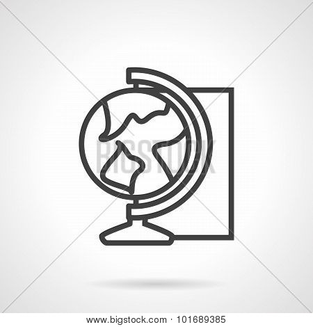 Globe simple line vector icon