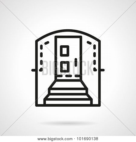 Housing entrance simple line vector icon