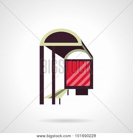 Bus stop with lightbox flat vector icon