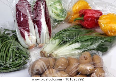 Vegetables In Cellophane Bags