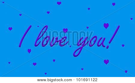 I Love You! Purple on Blue