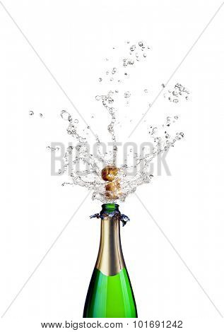 detail of popping champagne on white background