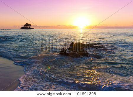 Sea Nightfall Rock
