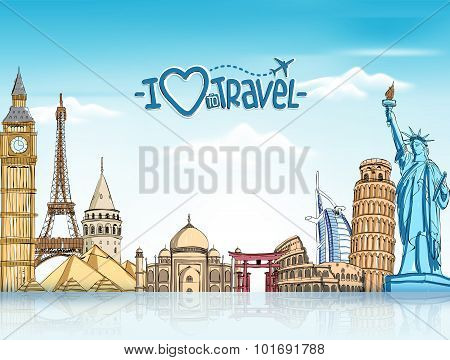 Travel and Tourism Background with Famous World Landmarks