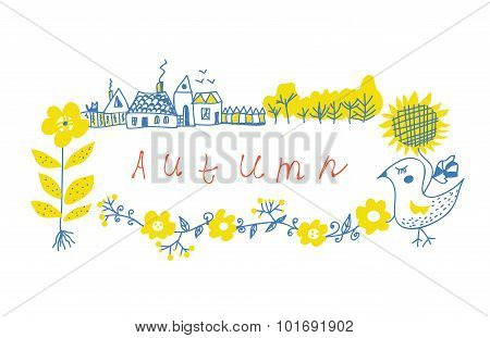 Autumn Frame Design With Farm And Flowers