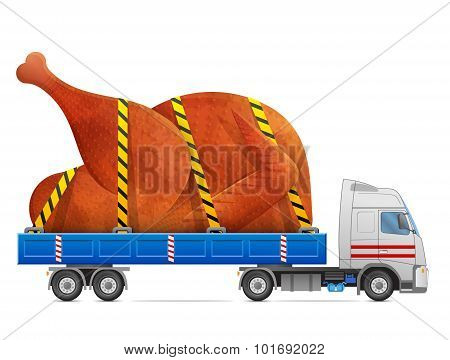 Road Transportation Of Roast Turkey, Chicken