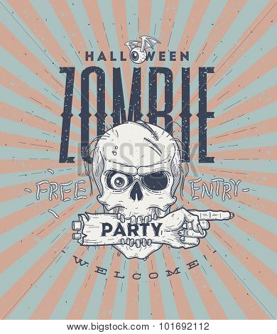 Halloween party poster with zombie head and hand - line art vector illustration