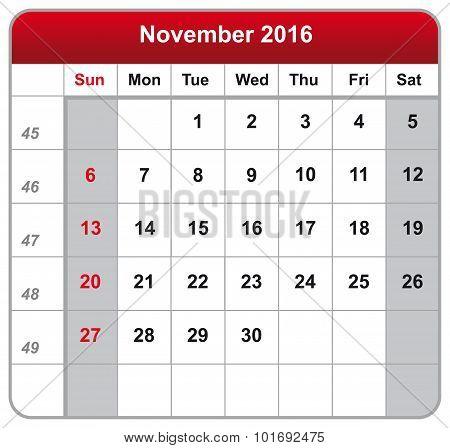 Calendar Sheet November 2016
