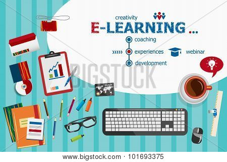 Online E-learning Design And Flat Design Illustration Concepts For Business Analysis, Planning