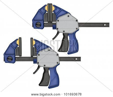 Modern bar clamp with quick release. Tool can be used in carpentry, woodworking or other crafts.