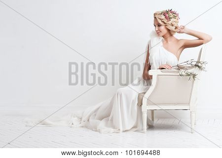 Beauty Woman With Wedding Hairstyle And Makeup. Bride Fashion. Jewelry And Beauty. Woman In White Dr