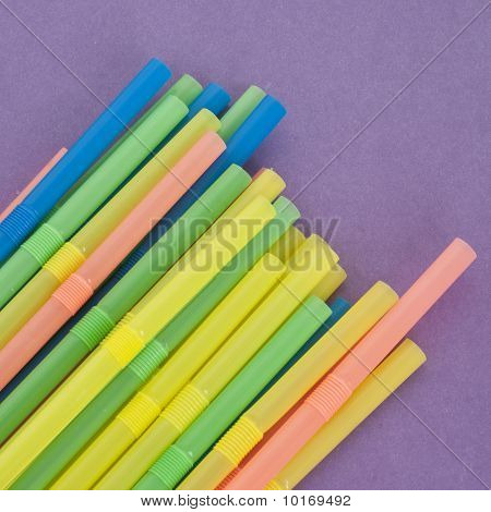 Fun Straws On A Vibrant Background