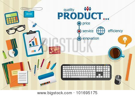 Product And Flat Design Illustration Concepts For Business Analysis