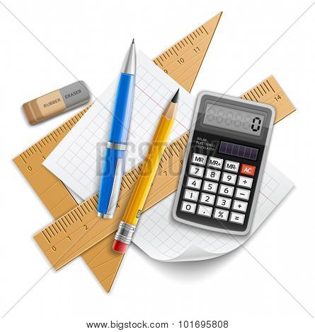 Tools set for education, pencil, pen, calculator, rulers and rubber. Eps10 vector illustration. Isolated on white background