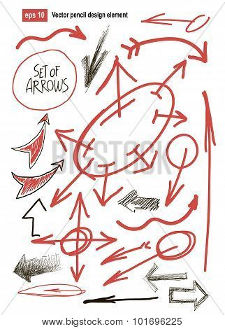 hand drawn arrows set. business design element. vector illustration