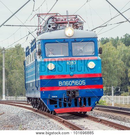 Retro freight electric locomotive.