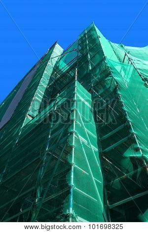 Scaffolding with green safety net