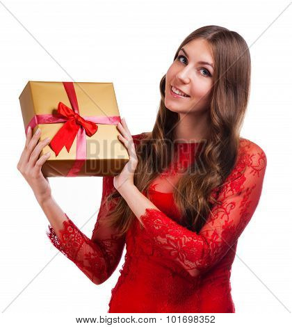 Cheerful Women With Gift Box
