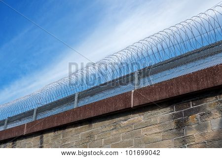 Barbed wire on a wall