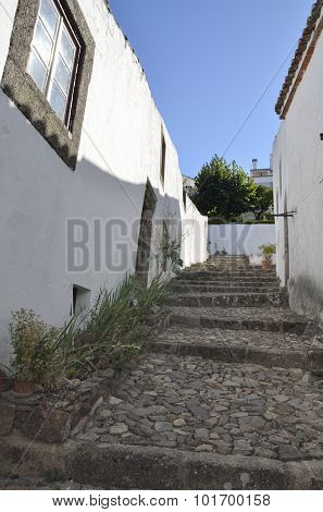 Cobbled Stairs In  Marvao