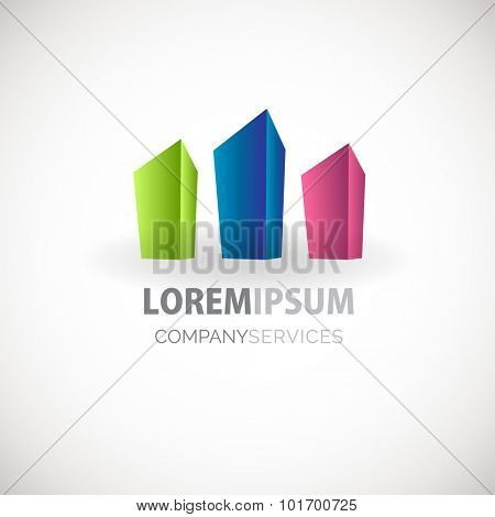 Abstract skyscrapers figure vector logo template. Dark blue, green abd pink abstract  vector logotype for social, property, web, media and other business company.