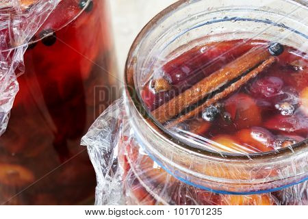 Preserved Red Fruits With Spices In Glass Jars