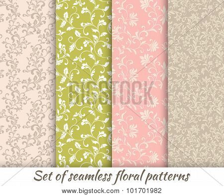 Set Of Floral Seamless Patterns In Vintage Style