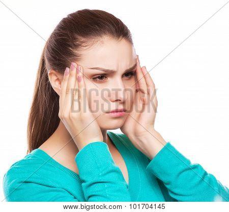 Woman With Headache, Migraine, Stress, Insomnia