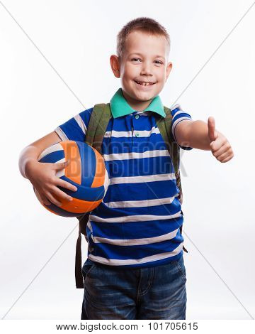 Happy Schoolboy With Backpack And Soccer Ball Isolated On White