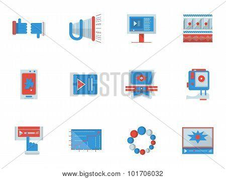 Social media flat color vector icons