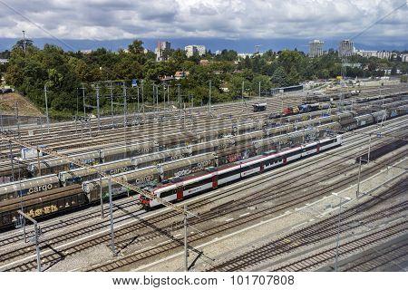 Trains In Geneva In Switzerland