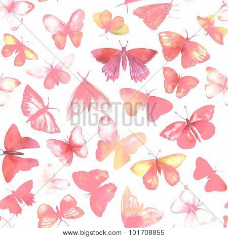 A seamless background pattern with many pink watercolour butterflies