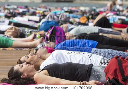 Thessaloniki Open Yoga Day. People Gathered To Perform Yoga Training During The Day, Outdoor Activit