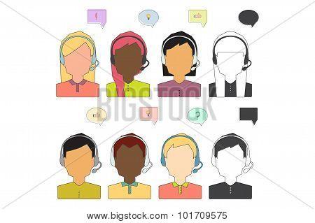 Call Center Operator Icons.