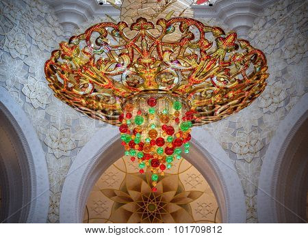 ABU DHABI, UNITED ARAB EMIRATES - NOVEMBER 28: Chandelier in Sheikh Zayed Grand Mosque on November 28, 2012 in Abu Dhabi.