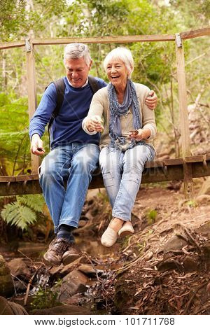 Happy senior couple sitting on a bridge in forest, vertical
