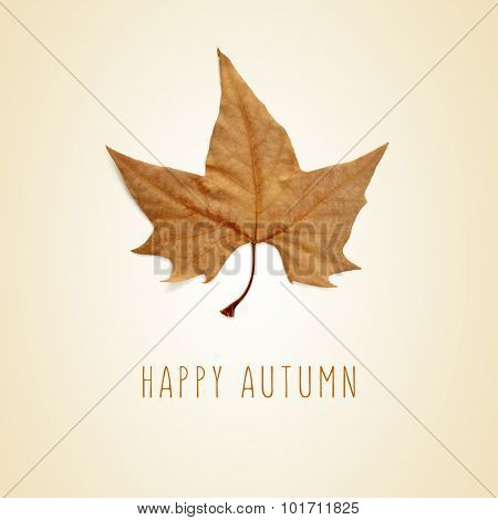 a dry leaf of plane tree and the text happy autumn on a beige background