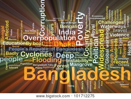 Background concept wordcloud illustration of Bangladesh glowing light