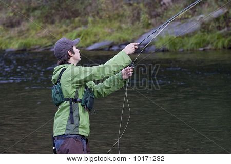 Fly fisherman.