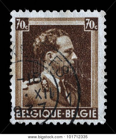 BELGIUM - CIRCA 1944: A stamp printed in Belgium shows portrait King Leopold III (1901-1983), circa 1944