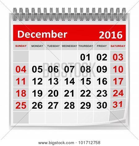 Calendar - December 2016
