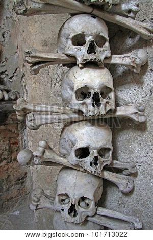 Human Bones In Sedlec Ossuary, Kostnice Cemetery Church Of All Saints In Sedlec, Kutna Hora, Czech R
