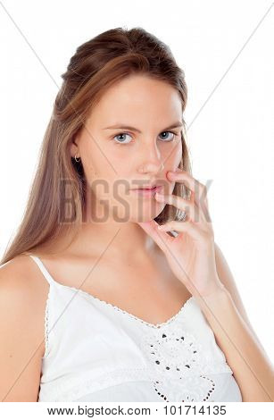 Worried blonde woman isolated on a white background